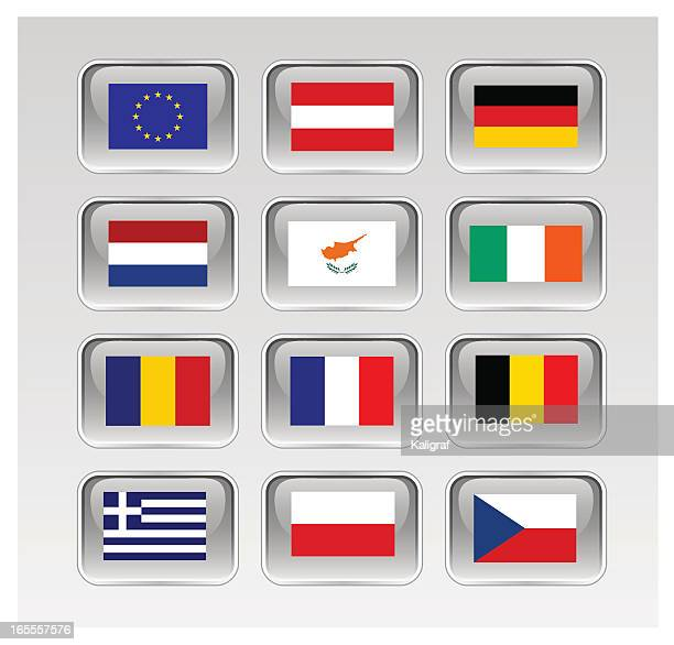 european union flags series 1/3 (see links to eu map) - martinique stock illustrations