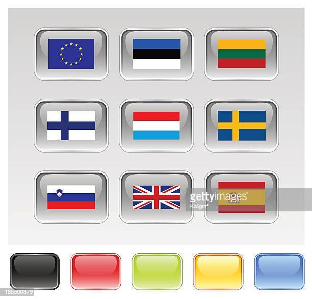 ilustrações de stock, clip art, desenhos animados e ícones de bandeiras da união europeia, série 3/3 - unidade monetária da união europeia