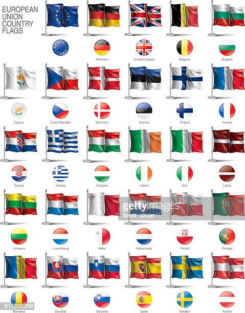 european union flags. - national flag stock illustrations, clip art, cartoons, & icons