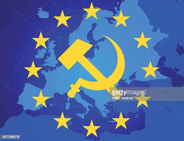 ilustraciones, imágenes clip art, dibujos animados e iconos de stock de european union - hammer and sickle - socialismo