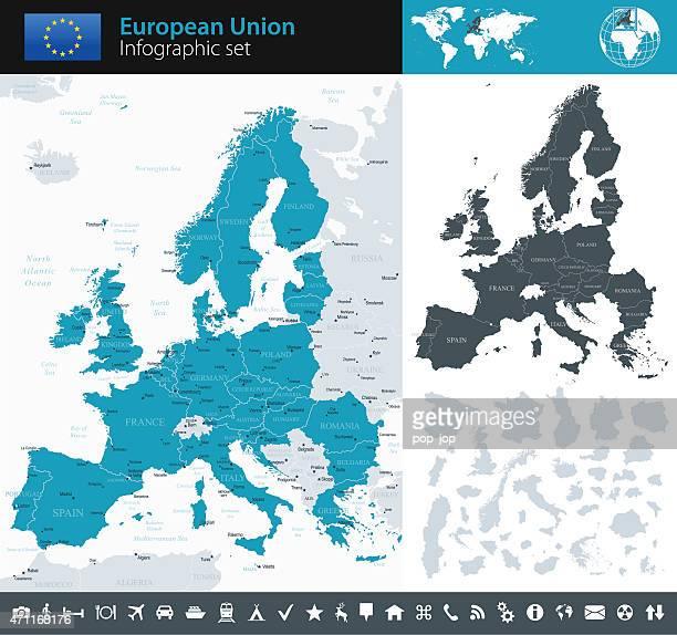 illustrazioni stock, clip art, cartoni animati e icone di tendenza di unione europea-infografica mappa-illustrazione - la comunità europea