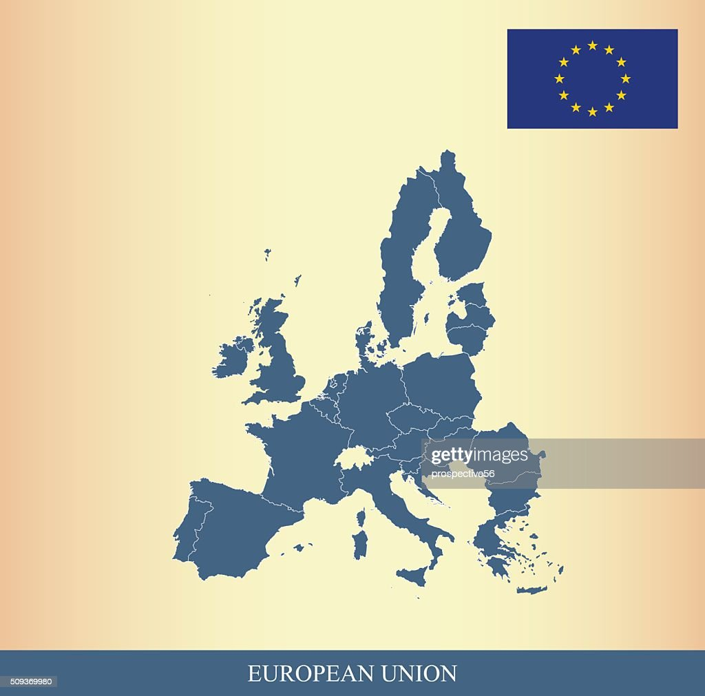 European Union map and flag outline vector