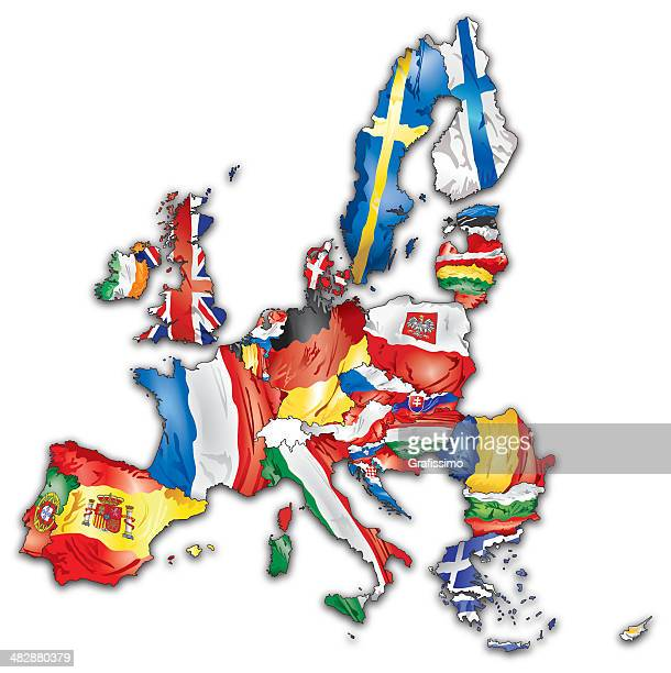 European Union map with flags of all countries