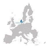 European Union map with indication of Denmark