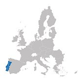 European Union map with indication of Portugal