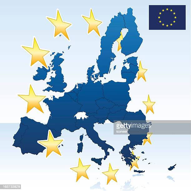 european union map with stars - eastern europe stock illustrations, clip art, cartoons, & icons