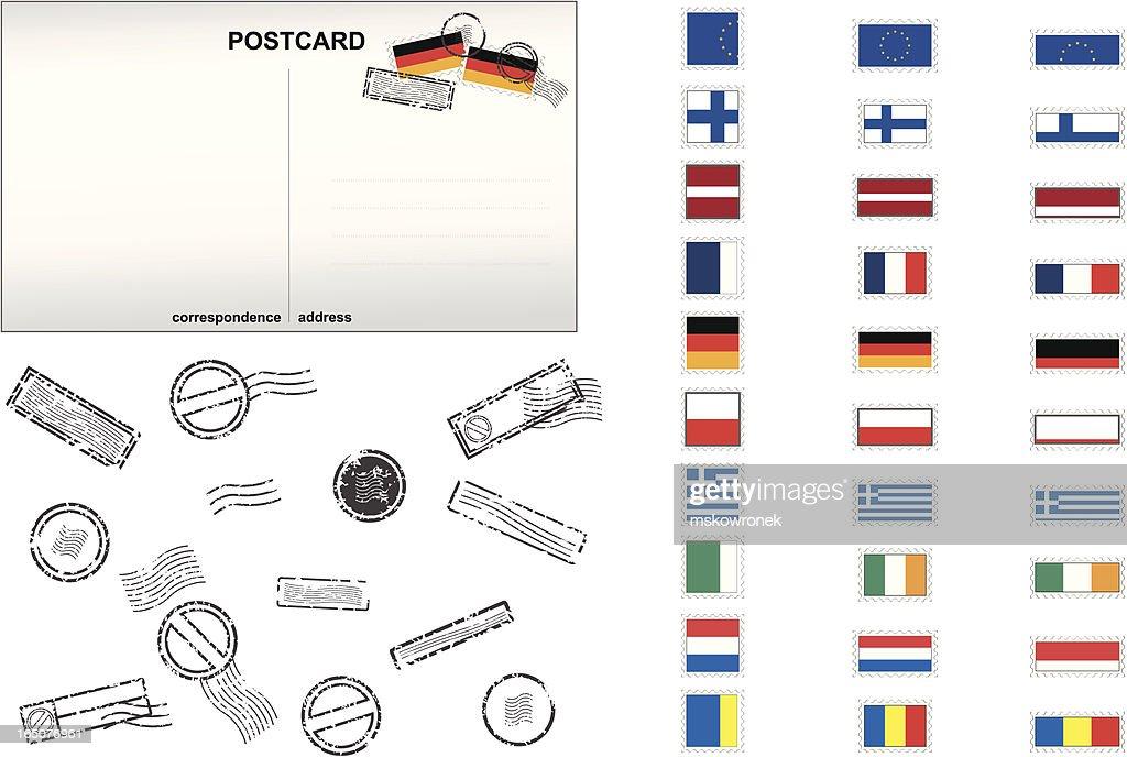 European Union Post Stamps No. 2 : stock illustration