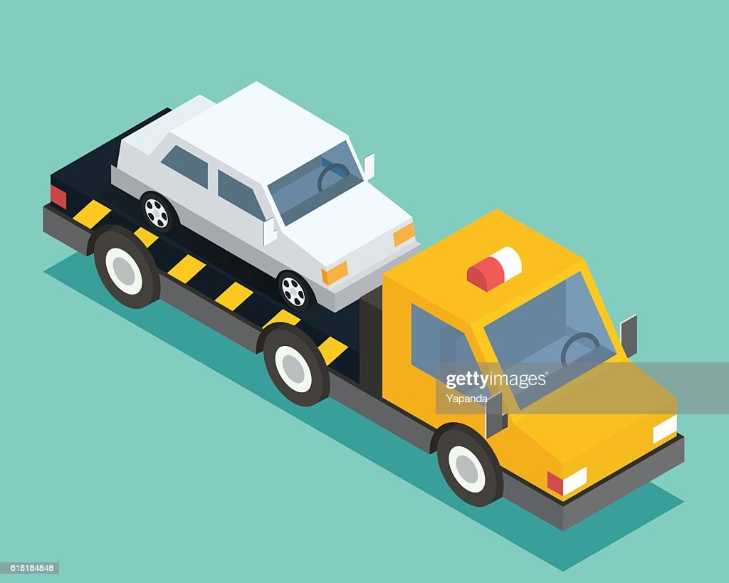 Evacuation isometric car, road assistance service help. Evacuator tow track
