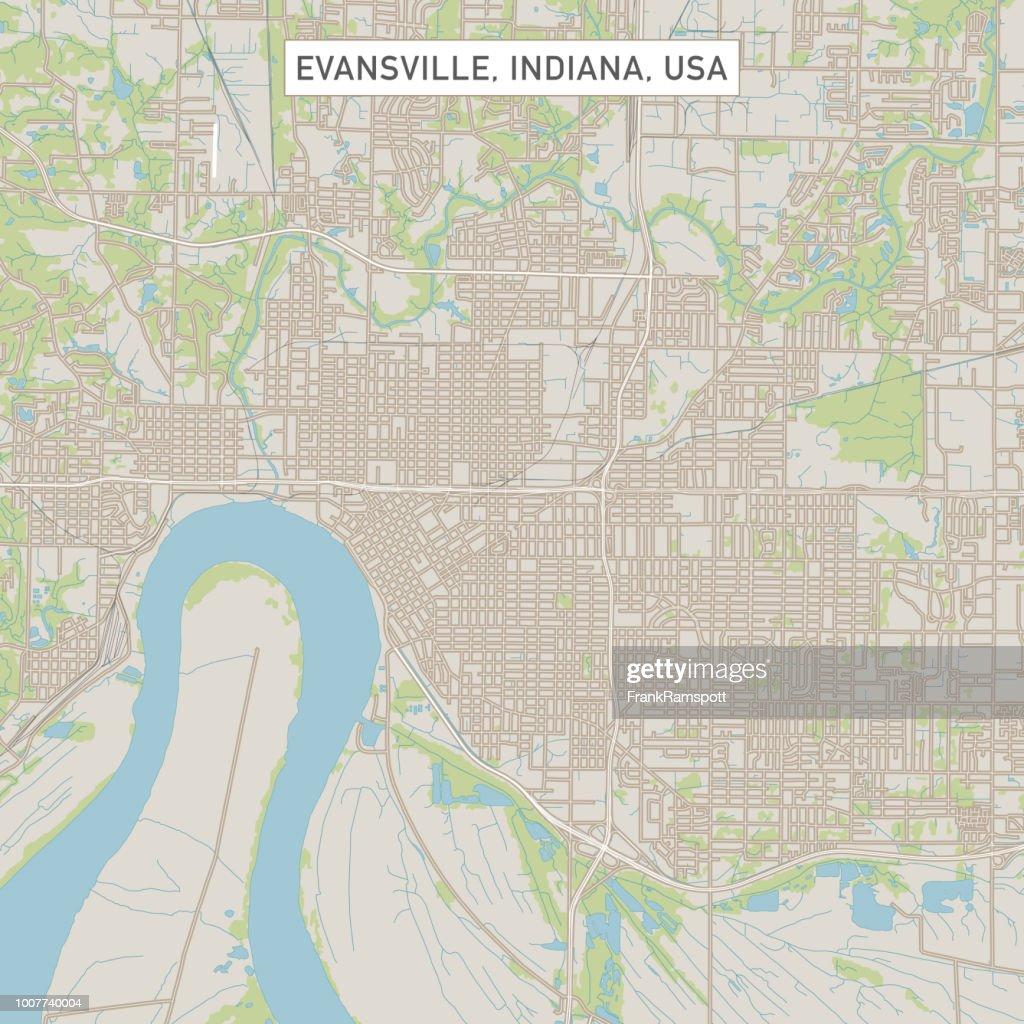 Evansville Indiana Usa Stadtstraße Karte Stock-Illustration ...