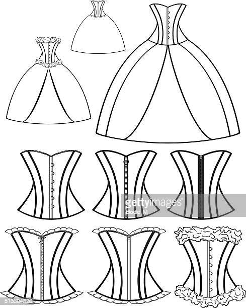 evenig dresses, corsets/robes de bal - en búsqueda stock illustrations