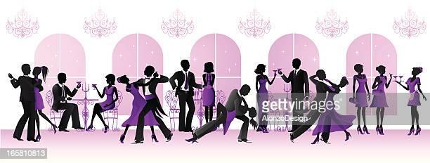ilustraciones, imágenes clip art, dibujos animados e iconos de stock de gala de baile de salón - bailar un vals