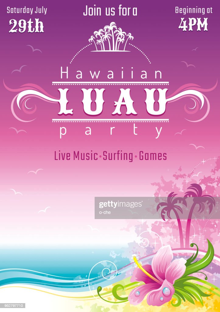 Evening beach sea flyer, hawaiian luau party. Watercolor hibiscus flower vector illustration. Aloha Hawaii design, summer holidays vacation banner. Vacation poster. Tropical island travel logo icon