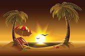 Evening beach. Sea, sun, palm trees sand. Romantic summer vacation
