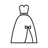 evening bridal dress vector line icon, sign, illustration on background, editable strokes