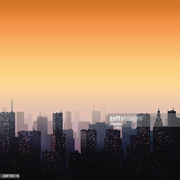 ilustraciones, imágenes clip art, dibujos animados e iconos de stock de noche de la ciudad - puesta de sol