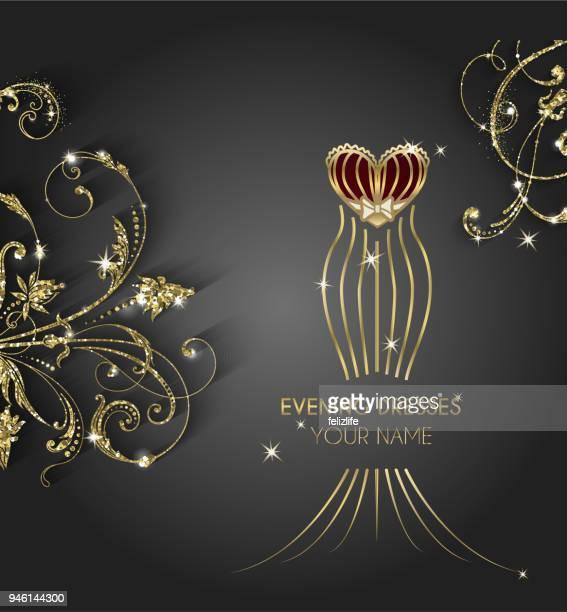 ilustraciones, imágenes clip art, dibujos animados e iconos de stock de diseño de cartel de lujo vestido de noche - boutique