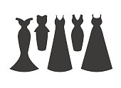 Evening dress silhouettes collection.