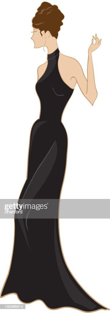 Vestido de noite e penteados : Ilustração