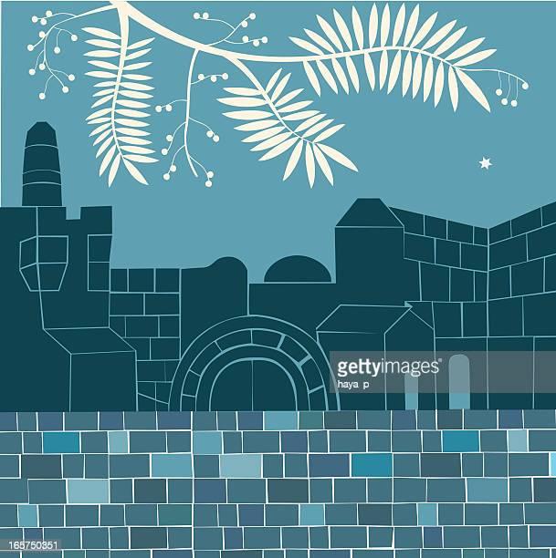 夜には、エルサレムの旧市街 - 嘆きの壁点のイラスト素材/クリップアート素材/マンガ素材/アイコン素材
