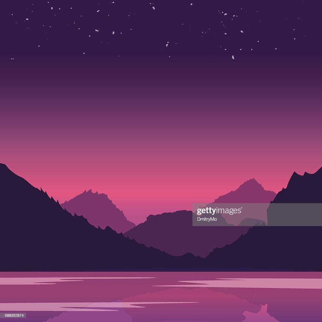 Evening landscape on the river. Vector illustration