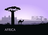 Evening landscape with camels, baobabs and architecture of Africa
