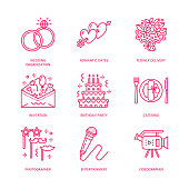 Event agency, wedding organization vector line icon. Party service - catering, birthday cake, balloon decoration, flower delivery, invitation