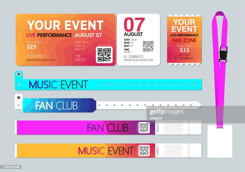 Event entrance Ticket, badge card holder, and bracelets. Live performance entrance. Access control design for Dance, Music, festivals, private areas, concerts or party events. Vector