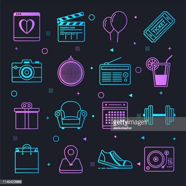 illustrations, cliparts, dessins animés et icônes de event & experientiel marketing constellation ligne gradient vector icons set - performing arts event