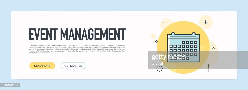 Event Management Concept - Flat Line Web Banner : stock illustration