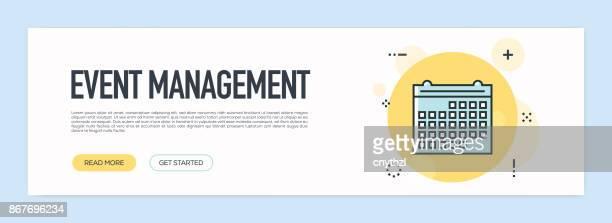 イベント管理コンセプト - フラット ライン Web バナー