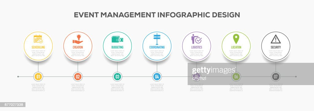 Event Management Infographics Timeline Design With Icons Vector Art
