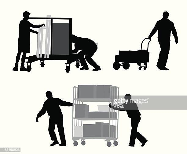 event organizers vector silhouette - pushing stock illustrations