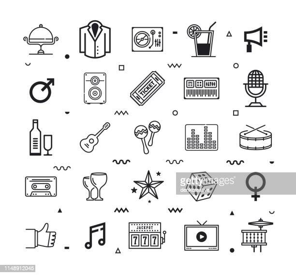 stockillustraties, clipart, cartoons en iconen met event & party supplies lijnstijl vector icon set - modeshow