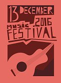 Event poster or flyer with acoustic guitar.