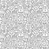 Event seamless pattern with thin line icons