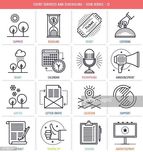 ilustrações, clipart, desenhos animados e ícones de serviços de eventos e programação - outdoor