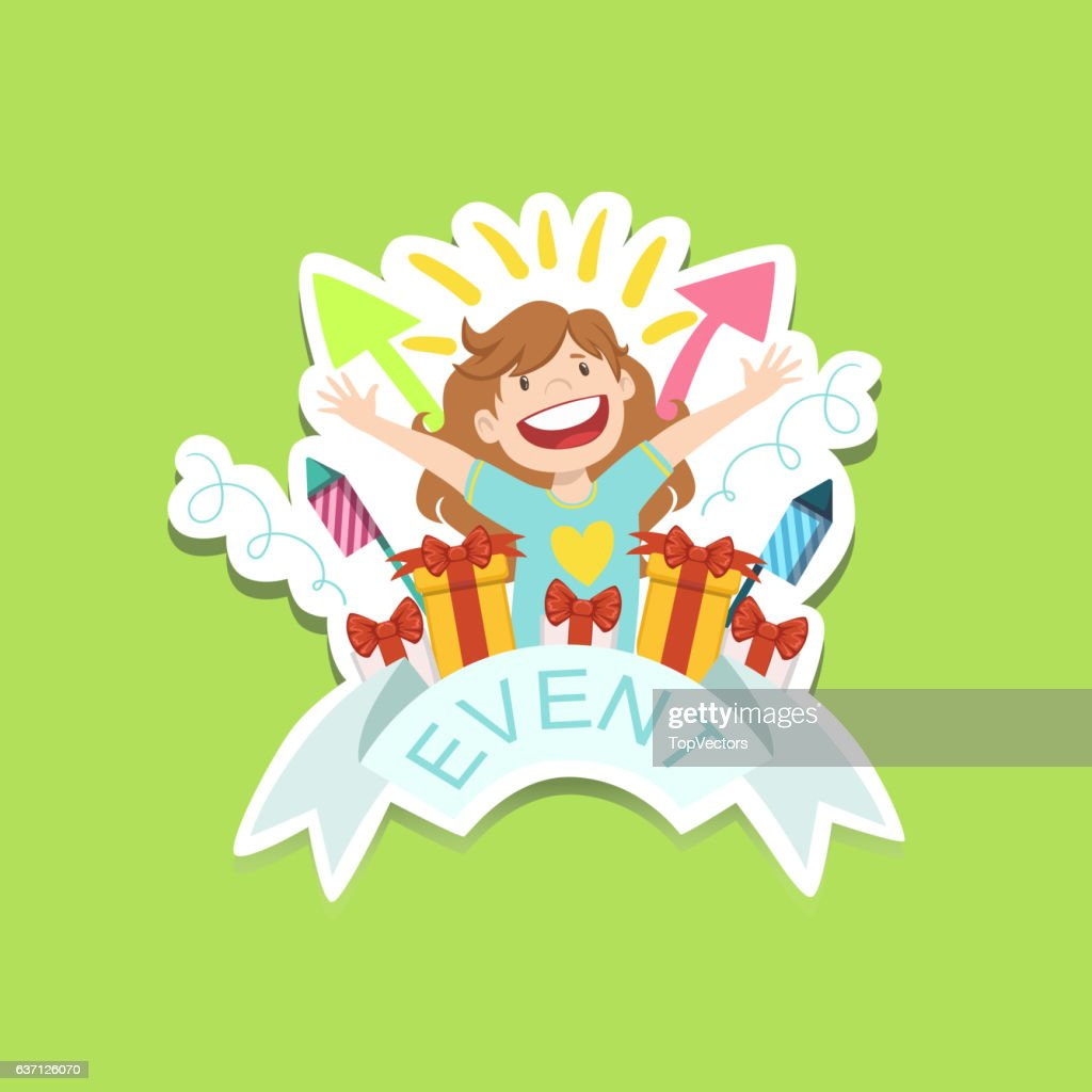 event template label cute sticker with little girl and presents vector art