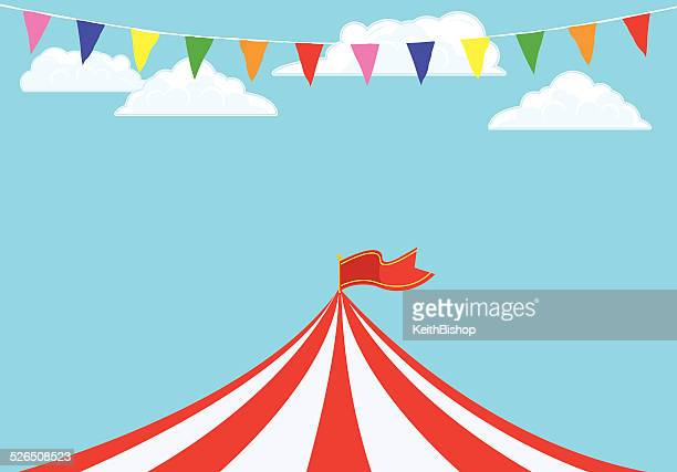 event tent and banner flags background - tent stock illustrations, clip art, cartoons, & icons