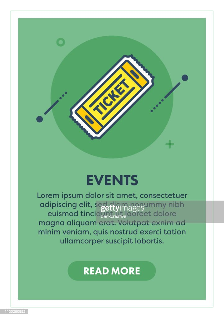 Event Ticket Web Banner Illustration with Icon.