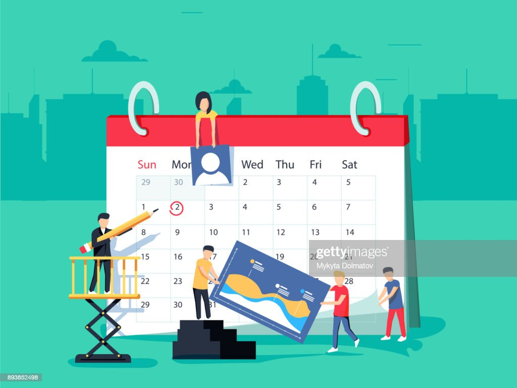Events. Flat design business people concept for business planning, events and news, reminder and schedule.