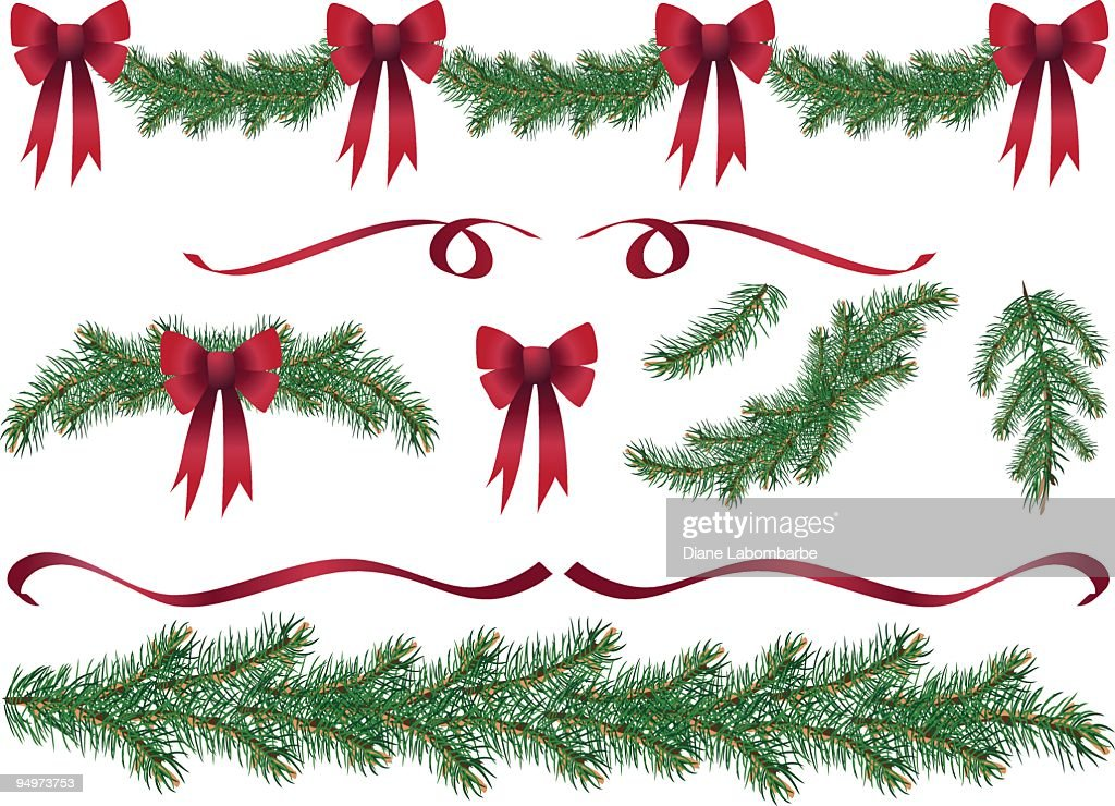 Evergreen Garland Swags and Design Elements Clipart with Red Bows : stock illustration