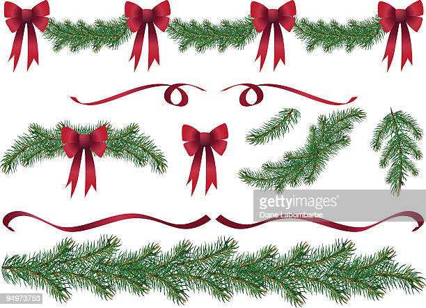 evergreen garland swags and design elements clipart with red bows - spruce tree stock illustrations