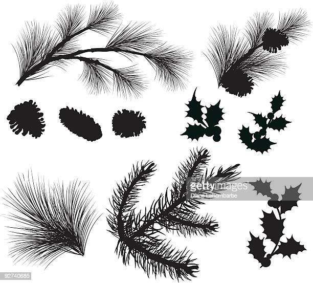 evergreen sprigs and holly leafs silhouettes clipart - coniferous tree stock illustrations, clip art, cartoons, & icons