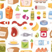 Everyday food seamless pattern vector.