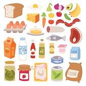 Everyday food vector illustration.