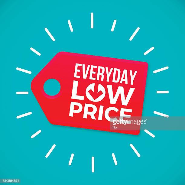 everyday low price sale tag - consumerism stock illustrations