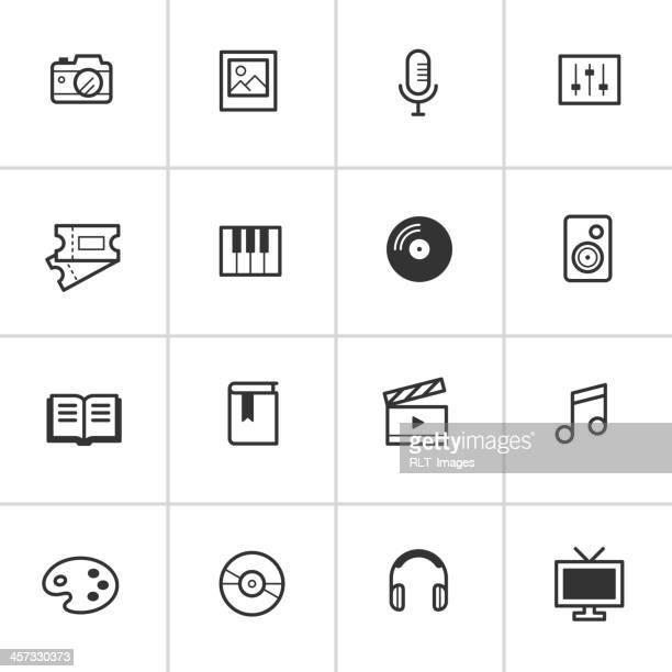 everyday media icons — inky series - ticket stock illustrations, clip art, cartoons, & icons