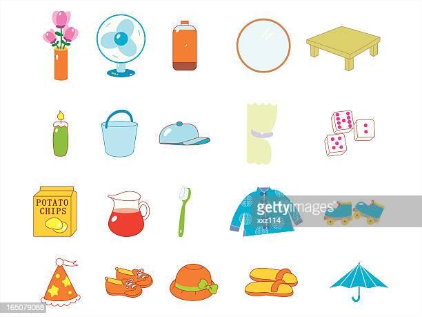 everyday necessities - daily bucket stock illustrations
