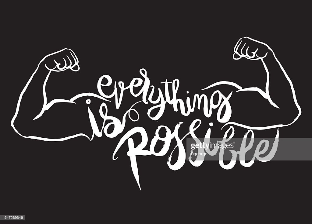 everything is possible card.strong man.Hand drawn lettering post