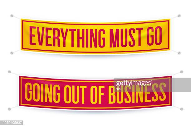 everything must go going out of business banners - everything must be sold stock illustrations